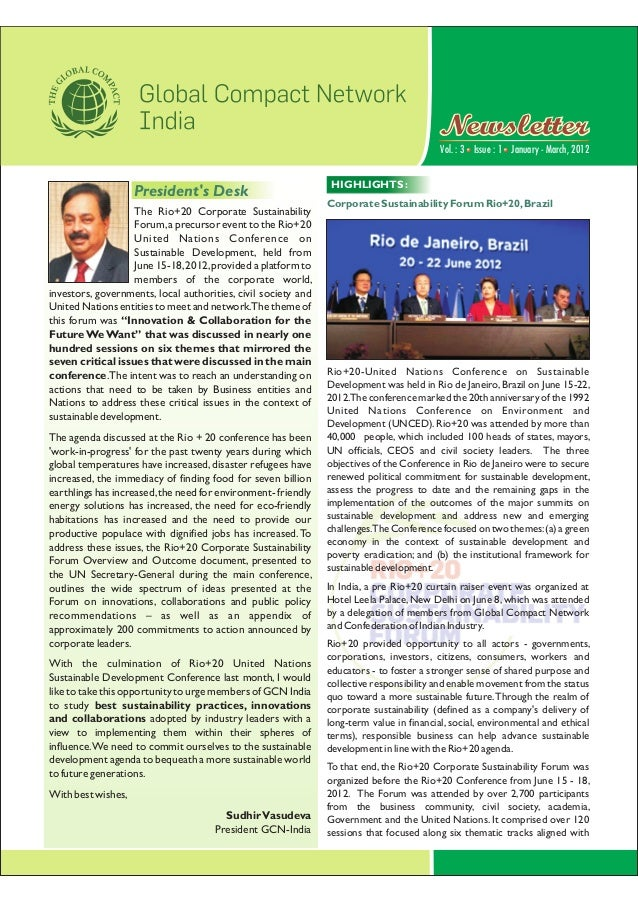 Vol. : 3 January - March, 2012Issue : 1 NewsletterNewsletter The Rio+20 Corporate Sustainability Forum,a precursor event t...