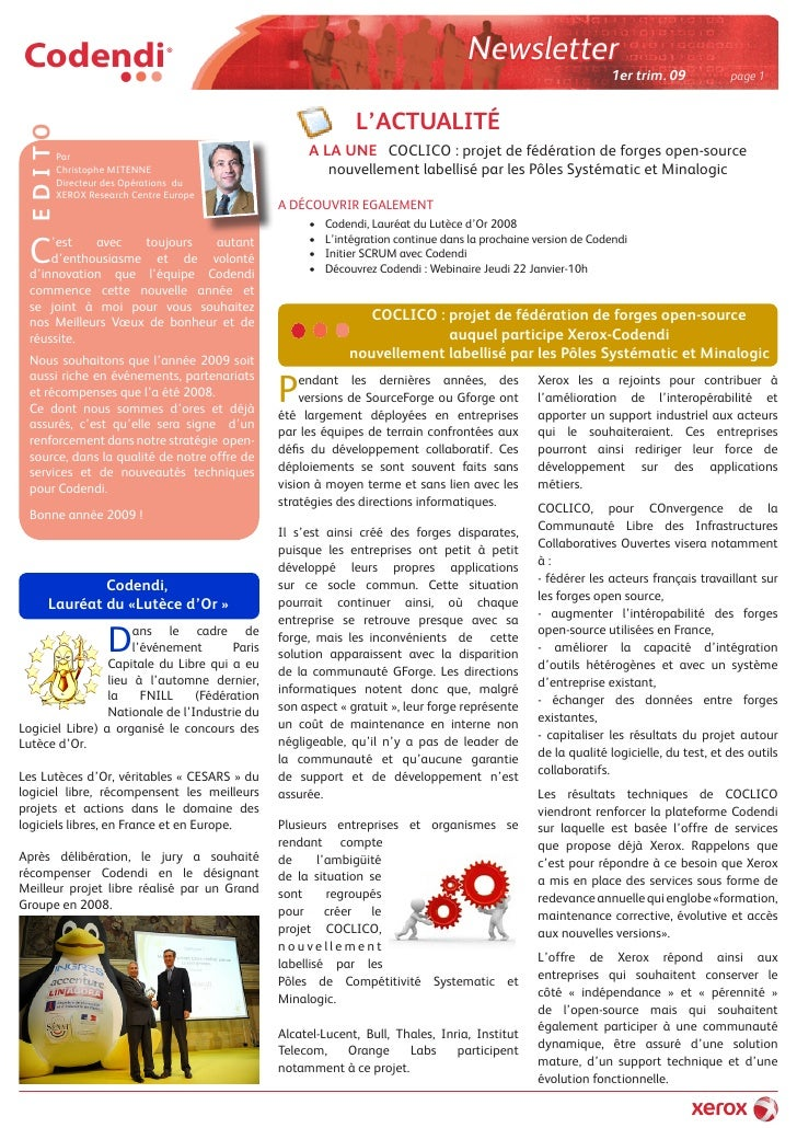 Newsletter Codendi 1er Trim 09