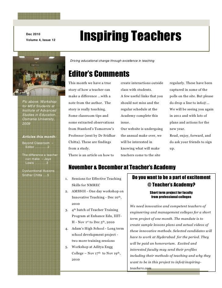 Dec 2010  Volume 4, Issue 12                     Inspiring Teachers                                Driving educational cha...