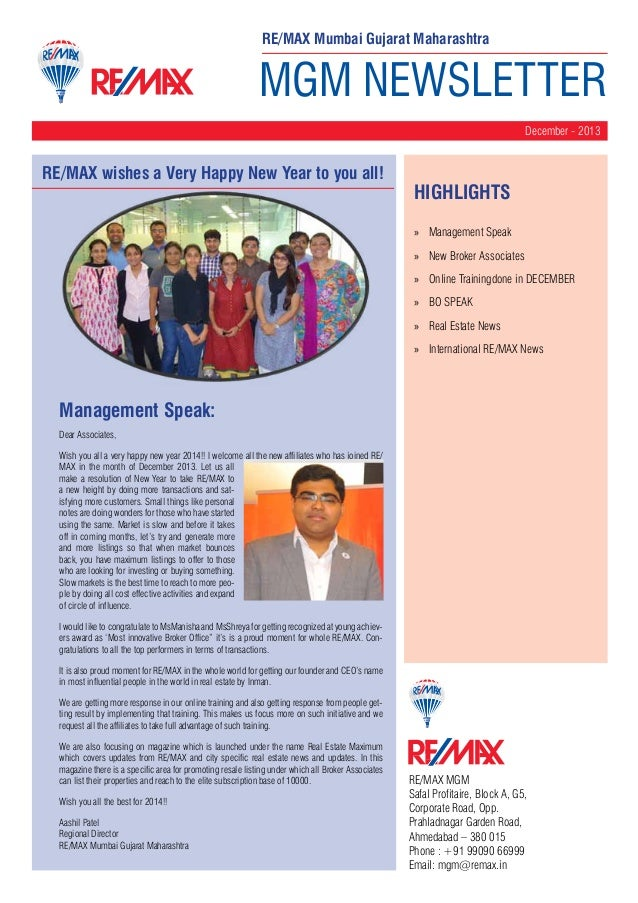 RE/MAX Mumbai Gujarat Maharashtra  MGM NEWSLETTER December - 2013  RE/MAX wishes a Very Happy New Year to you all!  HighLI...