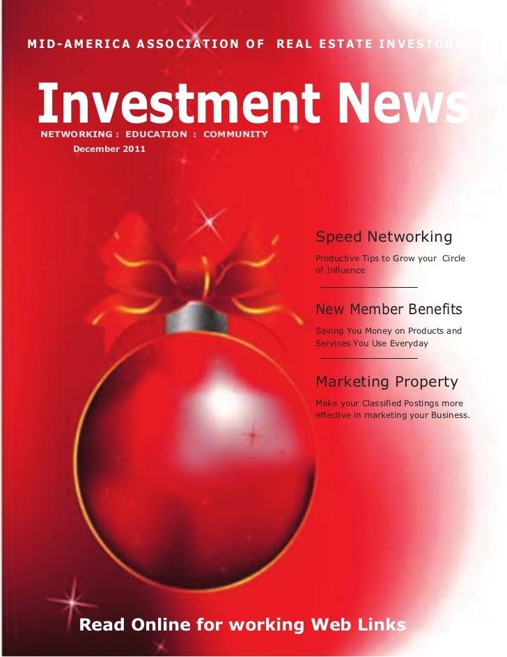 MID-AMERICA ASSOCIATION OF            REAL ESTATE INVESTORSInvestment News NETWORKING : EDUCATION : COMMUNITY     December...