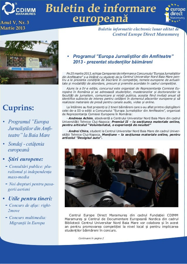 Buletin de informareAnul V, Nr. 3                 europeanăMartie 2013                                                   B...