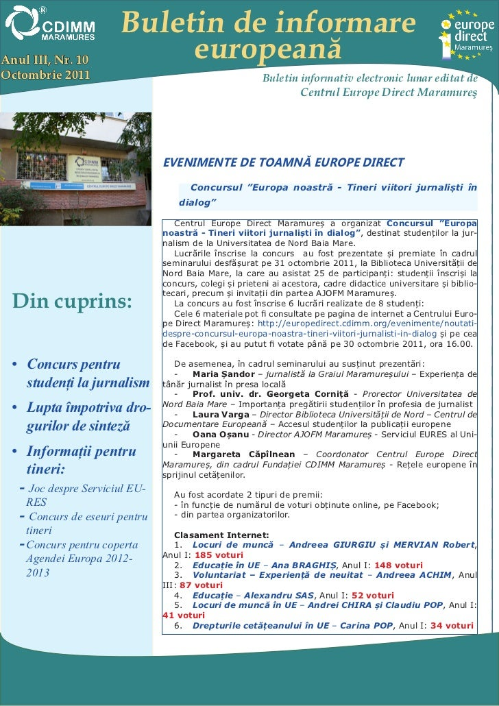 Buletin de informareAnul III, Nr. 10             europeanăOctombrie 2011                                             Bulet...