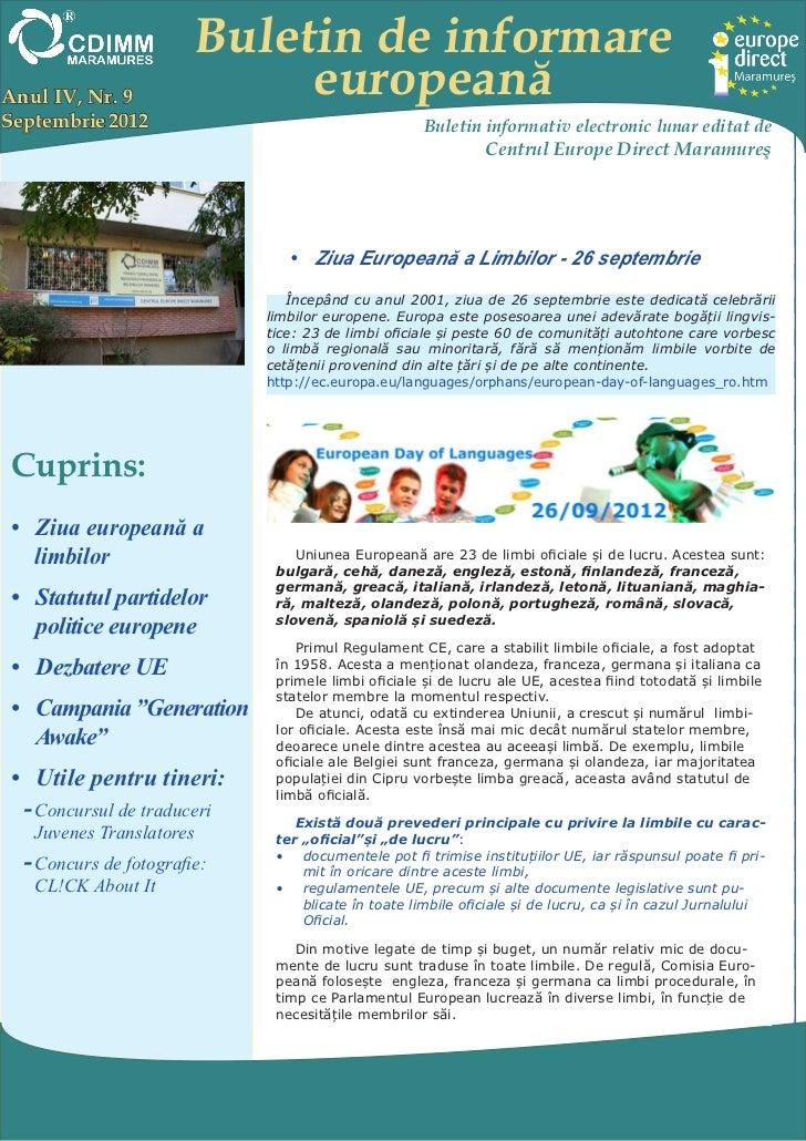 Buletin de informareAnul IV, Nr. 9               europeanăSeptembrie 2012                                      Buletin inf...