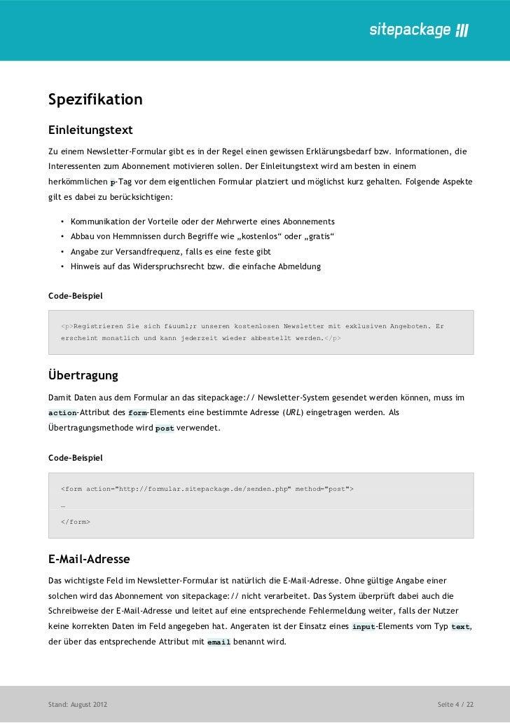Newsletter Formulare