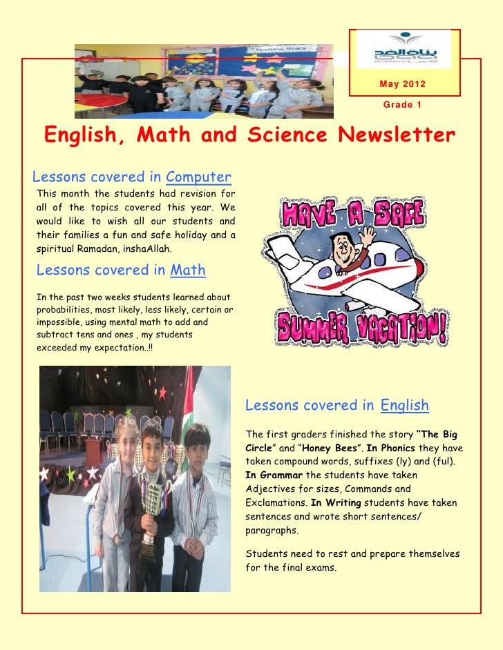 May 2012                                                                                   Grade 1 English, Math and Scien...