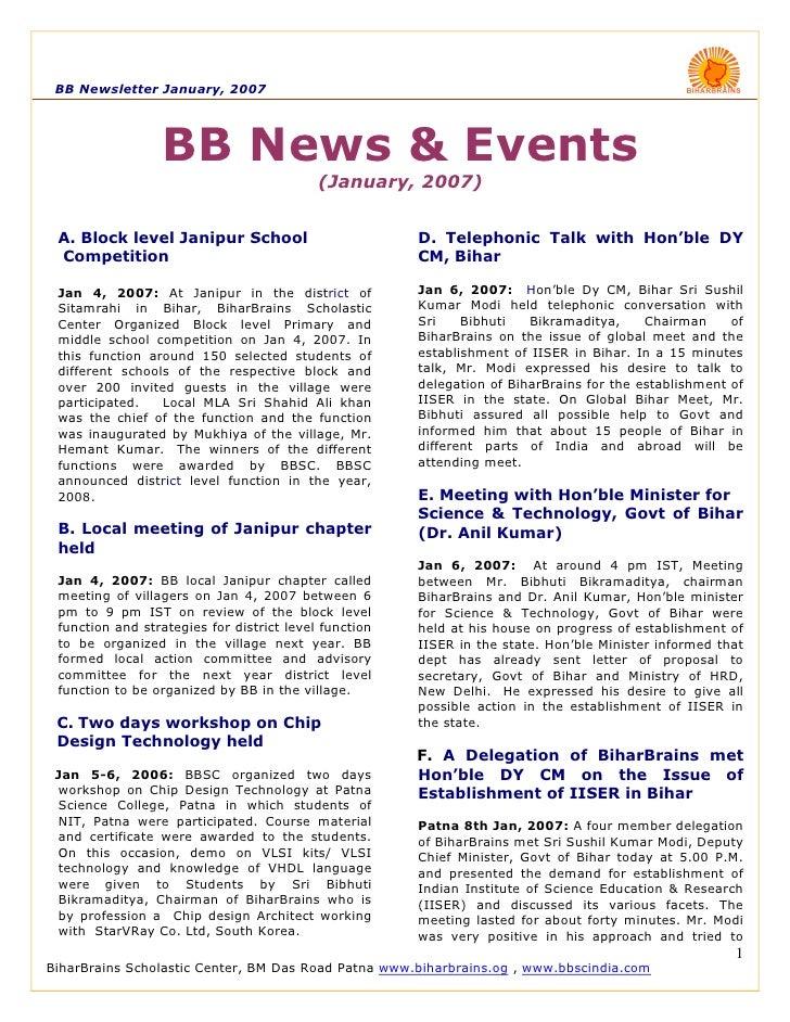 BB Newsletter January, 2007                      BB News & Events                                            (January, 200...