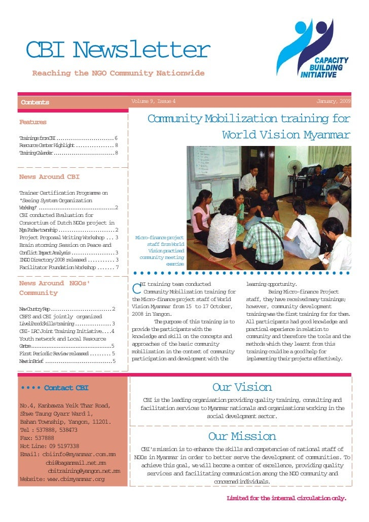 CBI Newsletter      Reaching the NGO Community NationwideContents                                           Volume 9, Issu...