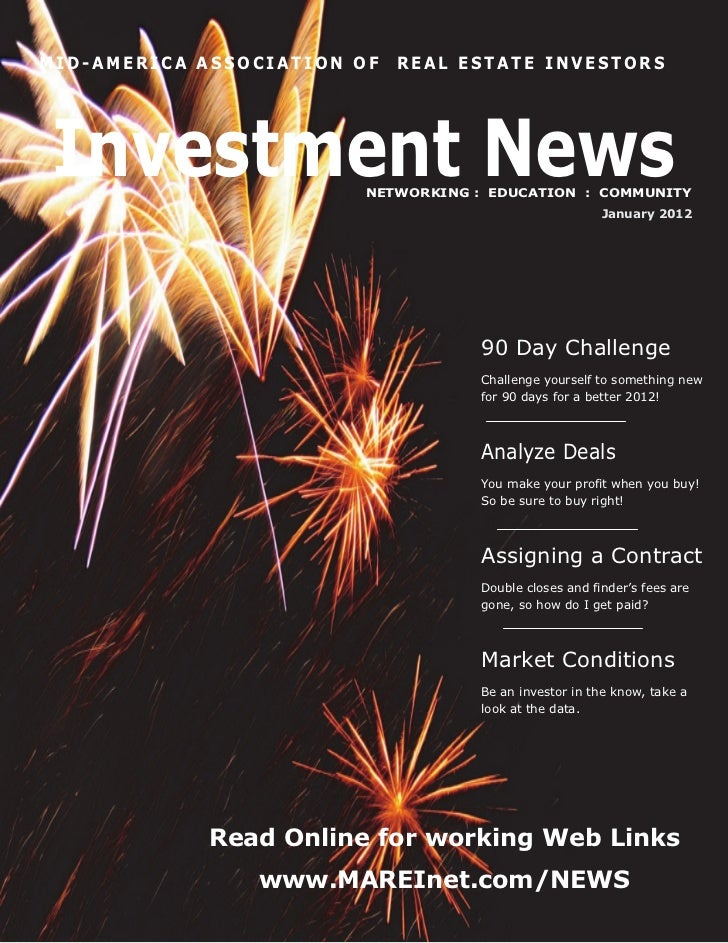 MID-AMERICA ASSOCIATION OF   REAL ESTATE INVESTORSInvestment News          NETWORKING : EDUCATION : COMMUNITY             ...