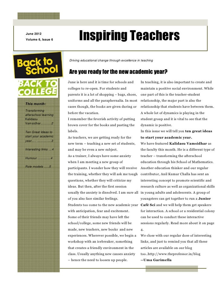 June 2012Volume 6, Issue 6                Inspiring Teachers                       Driving educational change through exce...