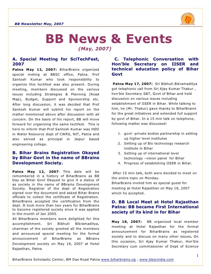 BB Newsletter May, 2007                         BB News & Events                                         (May, 2007)  A. S...
