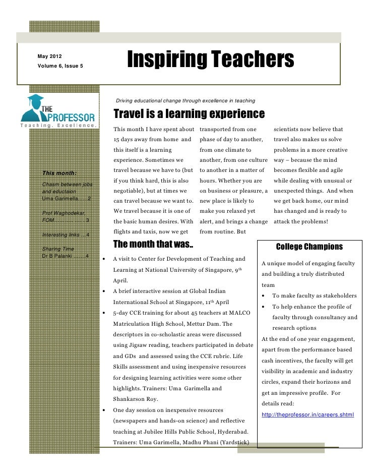 May 2012Volume 6, Issue 5                Inspiring Teachers                            Driving educational change through ...