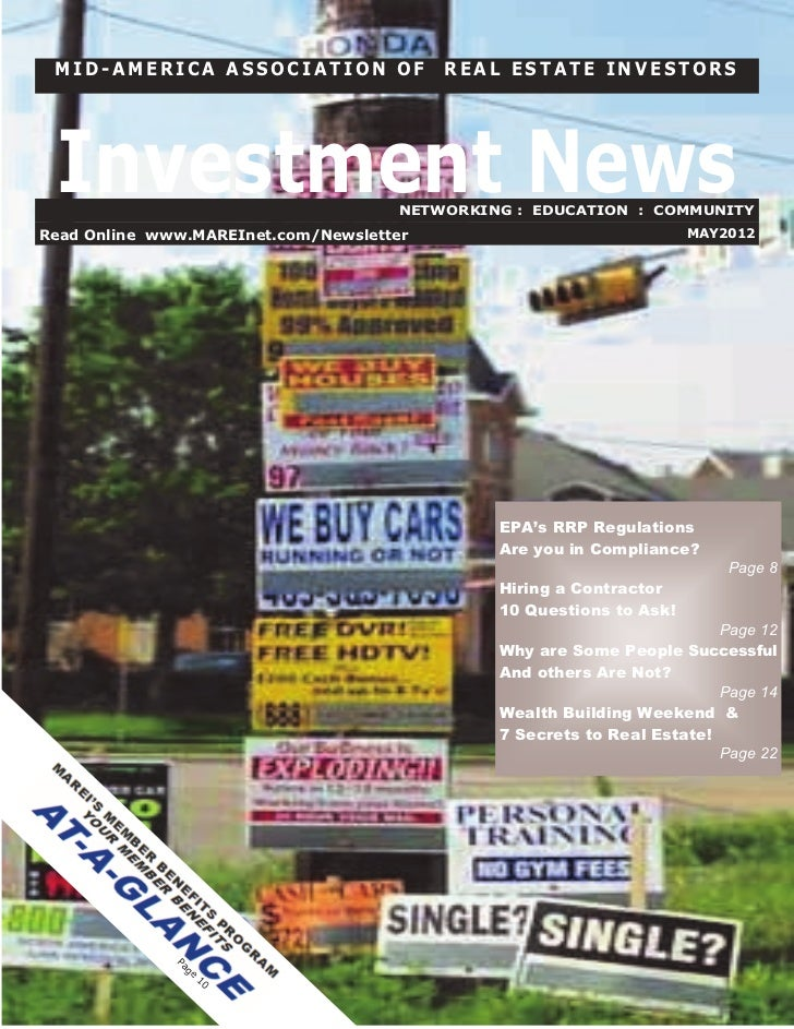 MID-AMERICA ASSOCIATION OF               REAL ESTATE INVESTORS Investment News                      NETWORKING : EDUCATION...