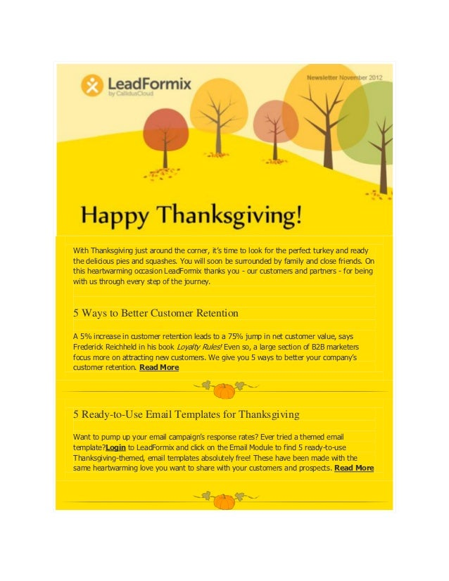 Happy Thanksgiving Leverage The Power Of Leadformix To Increase Reve - Thanksgiving email template