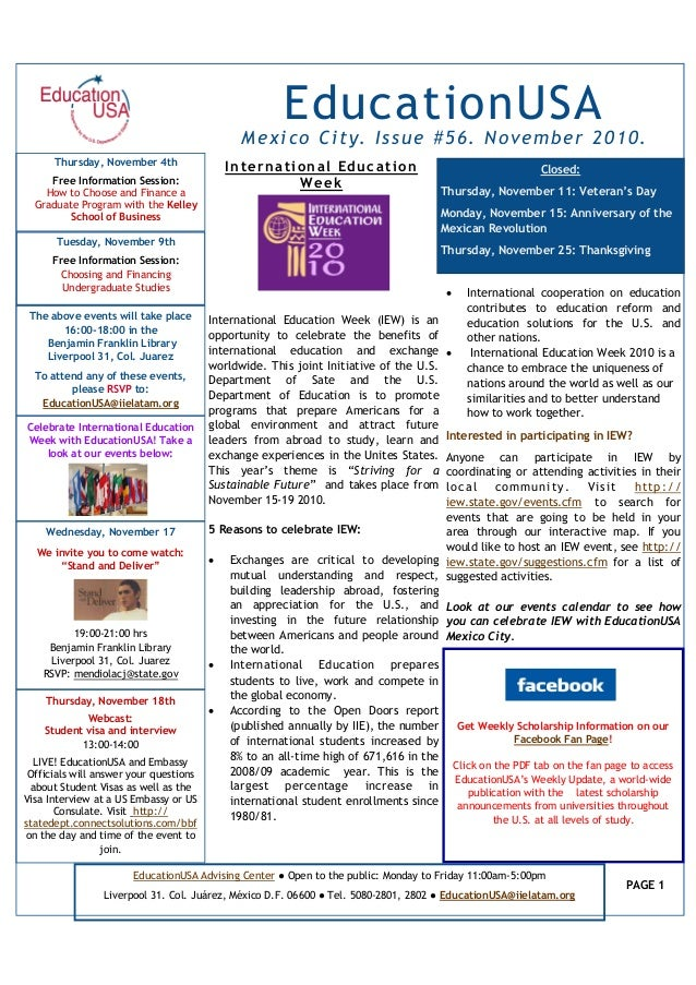 Mexico City. Issue #56. November 2010. International Education Week (IEW) is an opportunity to celebrate the benefits of i...