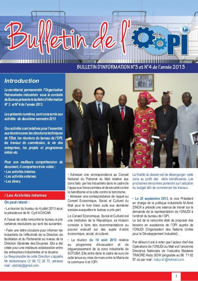 1 Bulletin de l' BULLETIND'INFORMATIONN°3etN°4del'année2013 • Adresser une correspondance au Conseil National du Patronat ...