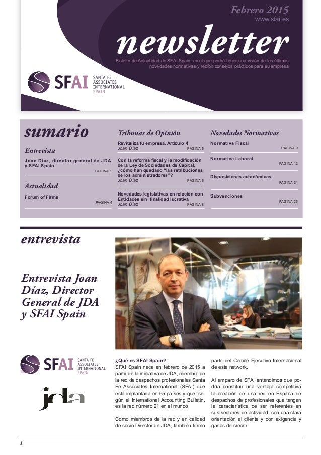 Entrevista Joan Díaz, director general de JDA y SFAI Spain 	 			 	 PAGINA 1 Actualidad Forum of Firms 	 	 	 PAGINA 4 Tribu...