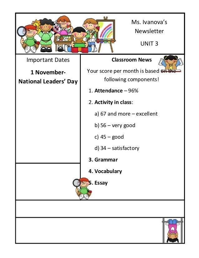 Ms. Ivanova's                                             Newsletter                                                 UNIT ...