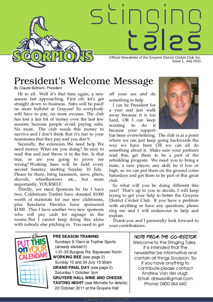stinging                                            tales    Official Newsletter of the Gruyere District Cricket Club Inc....