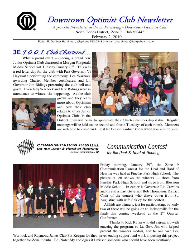 Downtown Optimist Club Newsletter                            A periodic Newsletter of the St. Petersburg - Downtown Optimi...