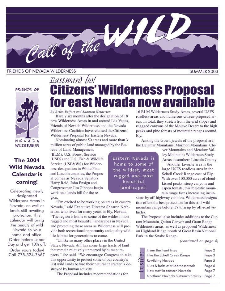 Eastward ho!FRIENDS OF NEVADA WILDERNESS                                                                                  ...