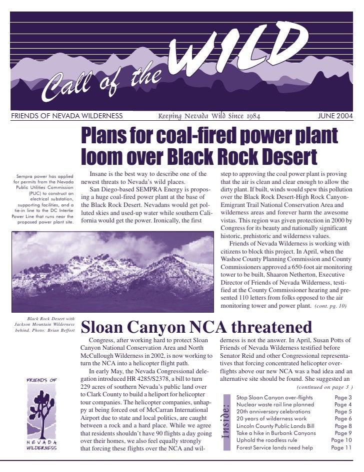 FRIENDS OF NEVADA WILDERNESS                                       Keeping Nevada Wild Since 1984                         ...