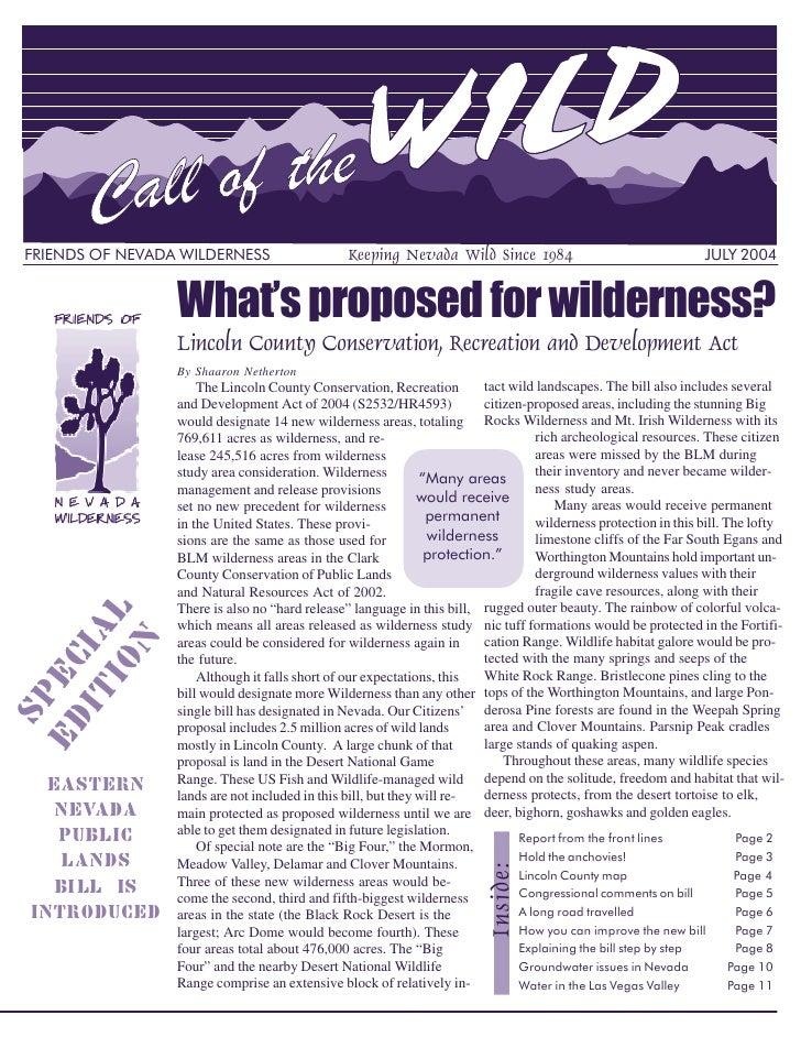 FRIENDS OF NEVADA WILDERNESS                    Keeping Nevada Wild Since 1984                                   JULY 2004...
