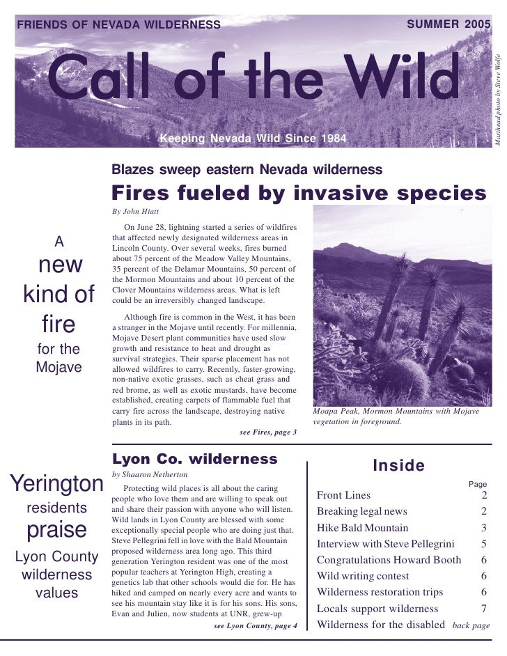 Summer 2005 Friends of Nevada Wilderness Newsletter