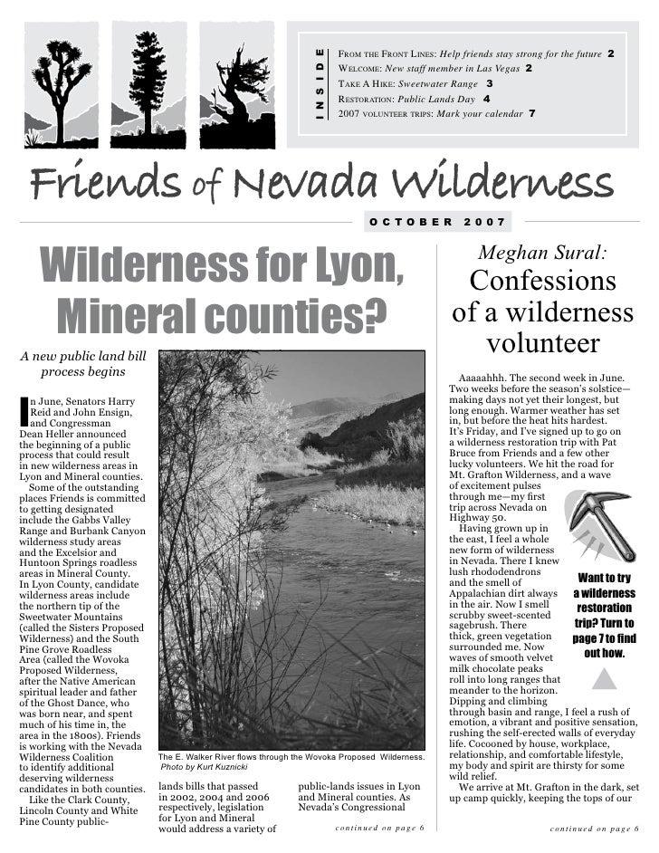Oct 2007 Friends of Nevada Wilderness Newsletter