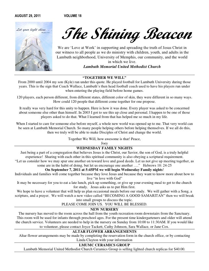 AUGUST 29, 2011                  VOLUME 18                               The Shining Beacon                            We ...
