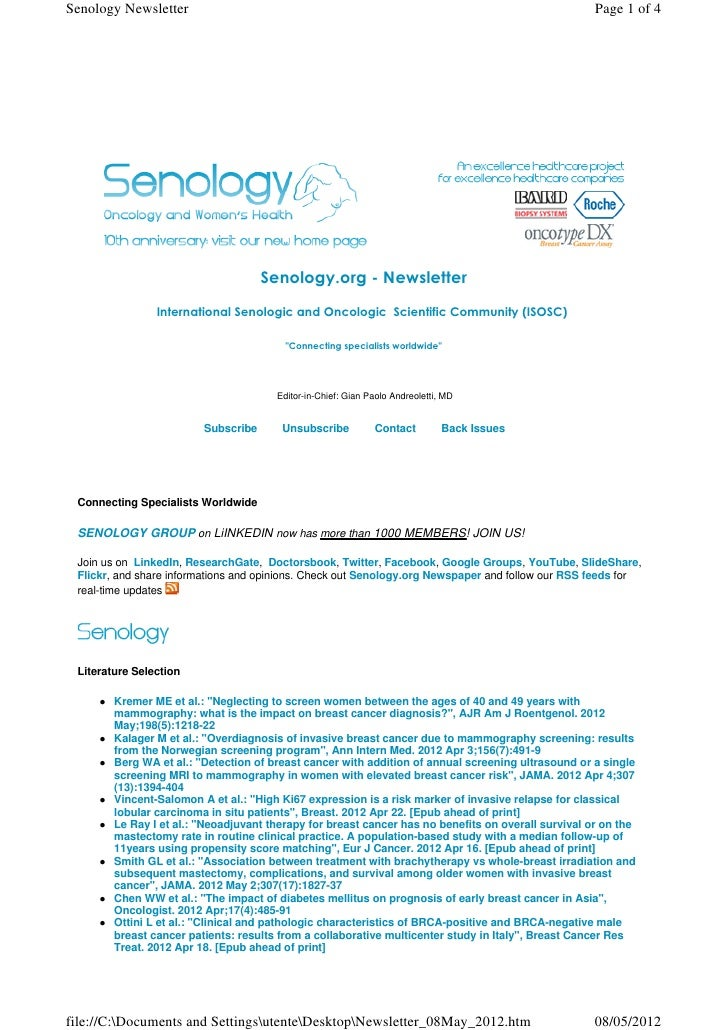 Senology Newsletter                                                                                  Page 1 of 4          ...
