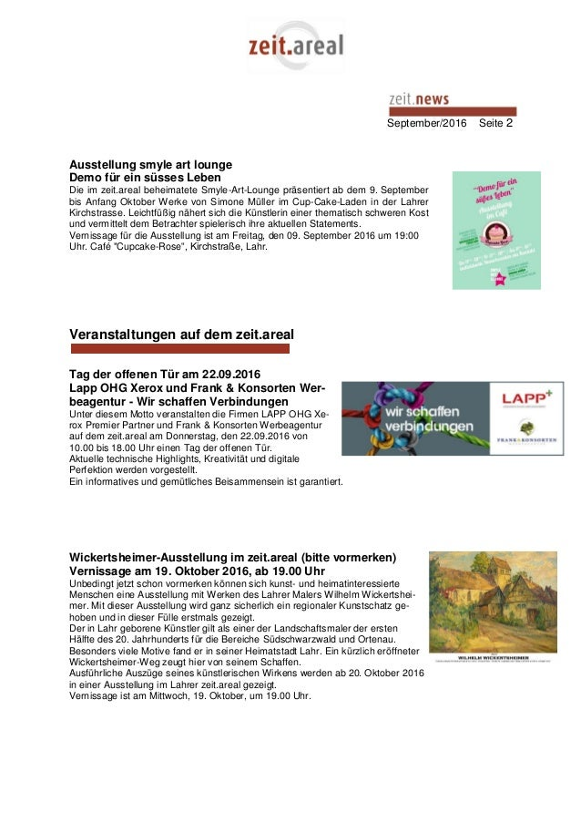 September/2016 Seite 2 Ausstellung smyle art lounge Demo für ein süsses Leben Die im zeit.areal beheimatete Smyle-Art-Loun...