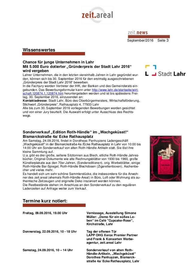 """September/2016 Seite 3 Wissenswertes Chance für junge Unternehmen in Lahr Mit 5.000 Euro dotierter """"Gründerpreis der Stadt..."""