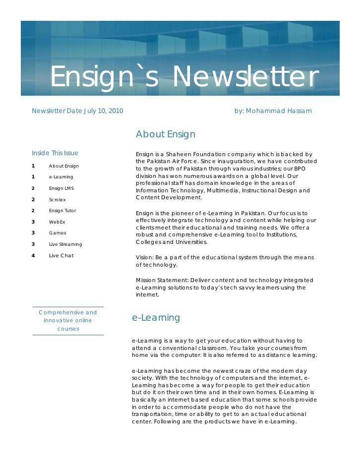 Ensign`s NewsletterNewsletter Date July 10, 2010                                        by: Mohammad Hassam               ...