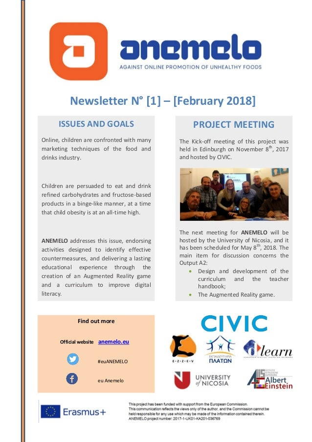 Newsletter N° [1] – [February 2018] ISSUES AND GOALS Online, children are confronted with many marketing techniques of the...