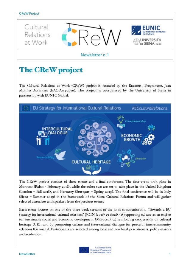 CReW Project The CReW project The Cultural Relations at Work (CReW) project is financed by the Erasmus+ Programme, Jean Mon...