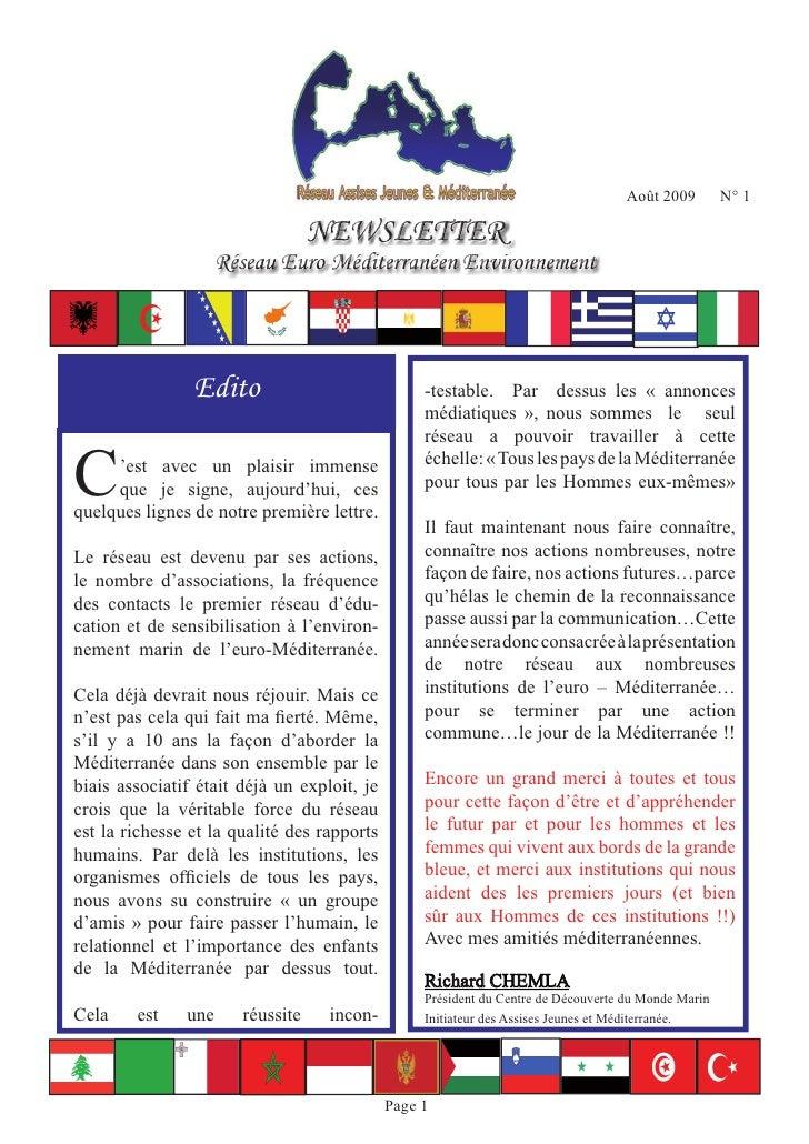 Août 2009        N° 1                                    NEWSLETTER                                   NEWSLETTER          ...