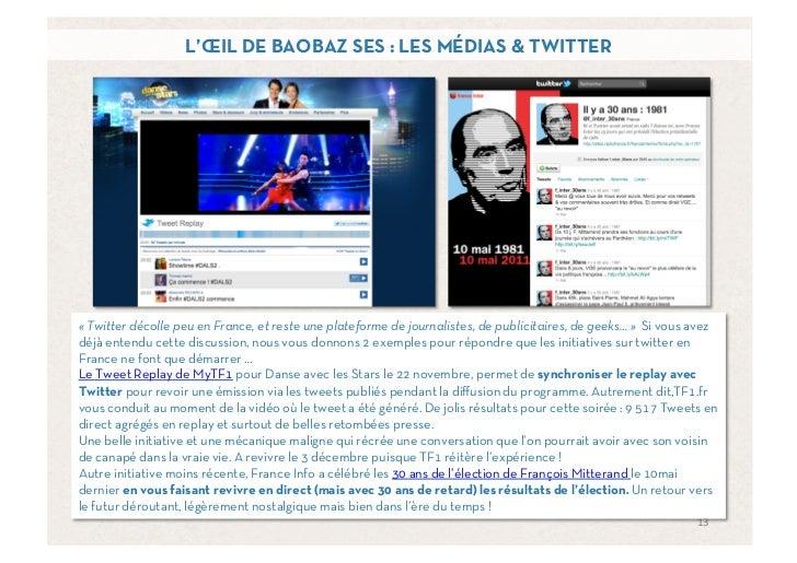 L'ŒIL DE BAOBAZ SES : LES MÉDIAS & TWITTER«Twitter décolle peu en France, et reste une plateforme de journalistes, de pub...