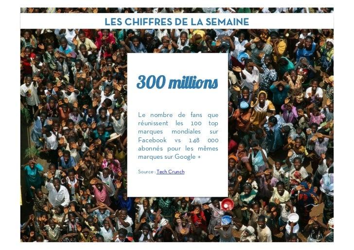 LES CHIFFRES DE LA SEMAINE     300      Le nombre de fans que      réunissent les 100 top      marques mondiales sur      ...