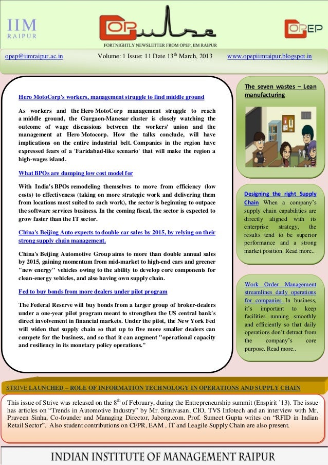 opep@iimraipur.ac.in               Volume: 1 Issue: 11 Date 13th March, 2013          www.opepiimraipur.blogspot.in       ...