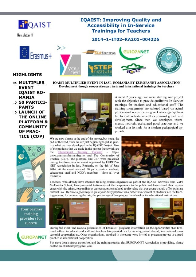 HIGHLIGHTS MULTIPLER EVENT IQAIST RO- MANIA 50 PARTICI- PANTS LAUNCH OF THE ONLINE PLATFORM & COMMUNITY OF PRAC- TICE (COP...