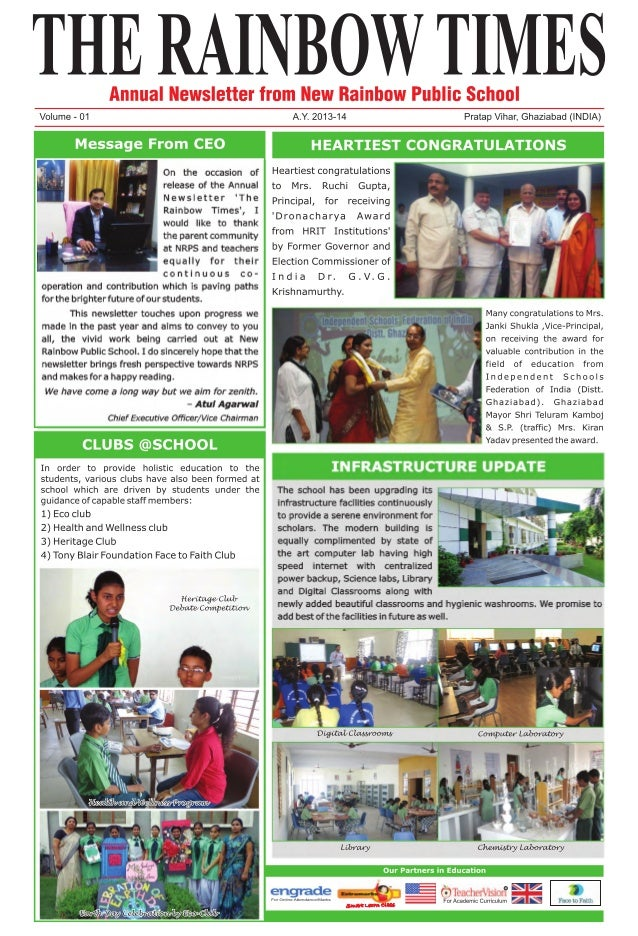 New Rainbow Public School Newsletter 2013-14