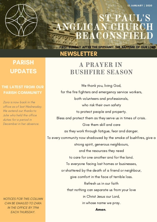 ST PAUL'S ANGLICAN CHURCH BEACONSFIELD A PRAYER IN BUSHFIRE SEASON We thank you, living God, for the fire fighters and eme...