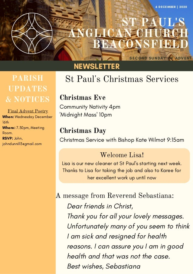 NEWSLETTER ST PAUL'S ANGLICAN CHURCH BEACONSFIELD SECOND SUNDAY OF ADVENT 6 DECEMBER   2020 PARISH UPDATES & NOTICES Final...