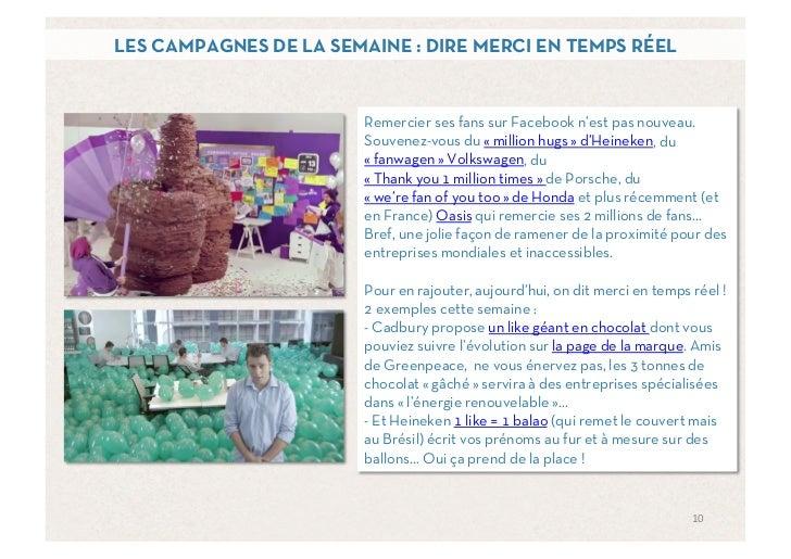 LES CAMPAGNES DE LA SEMAINE : DIRE MERCI EN TEMPS RÉEL                       Remercier ses fans sur Facebook n'est pas nou...