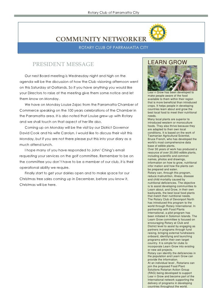 Rotary Club of Parramatta City                       COMMUNITY NETWORKER                                      ROTARY CLUB ...
