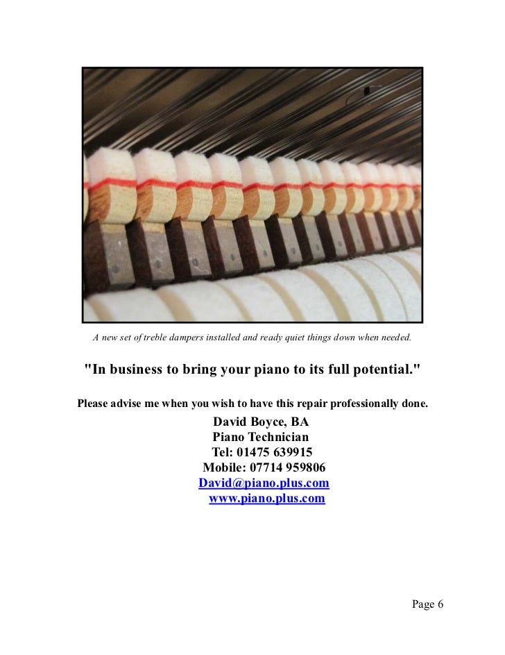 """A new set of treble dampers installed and ready quiet things down when needed. """"In business to bring your piano to its ful..."""