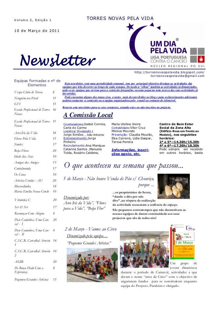 Volume 2, Edição 1                                     TORRES NOVAS PELA VIDA10 de Março de 2011   Newsletter             ...