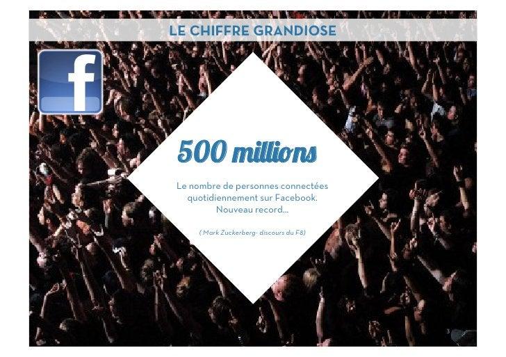 LE CHIFFRE GRANDIOSE 500Le nombre de personnes connectées  quotidiennement sur Facebook.         Nouveau record…    ( Mark...