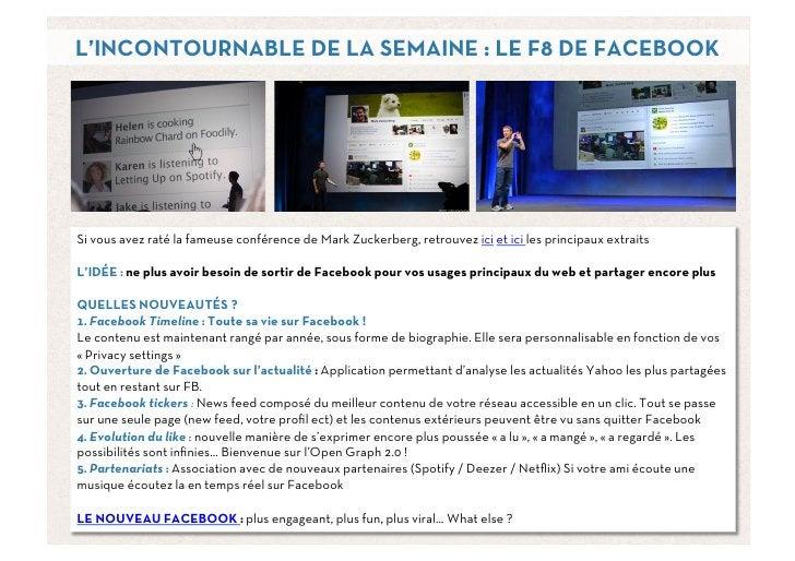 L'INCONTOURNABLE DE LA SEMAINE : LE F8 DE FACEBOOKSi vous avez raté la fameuse conférence de Mark Zuckerberg, retrouvez ic...
